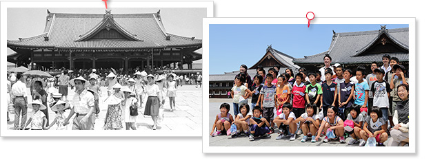 天理教教会本部神殿前で撮影する子供たちの昔と今の写真