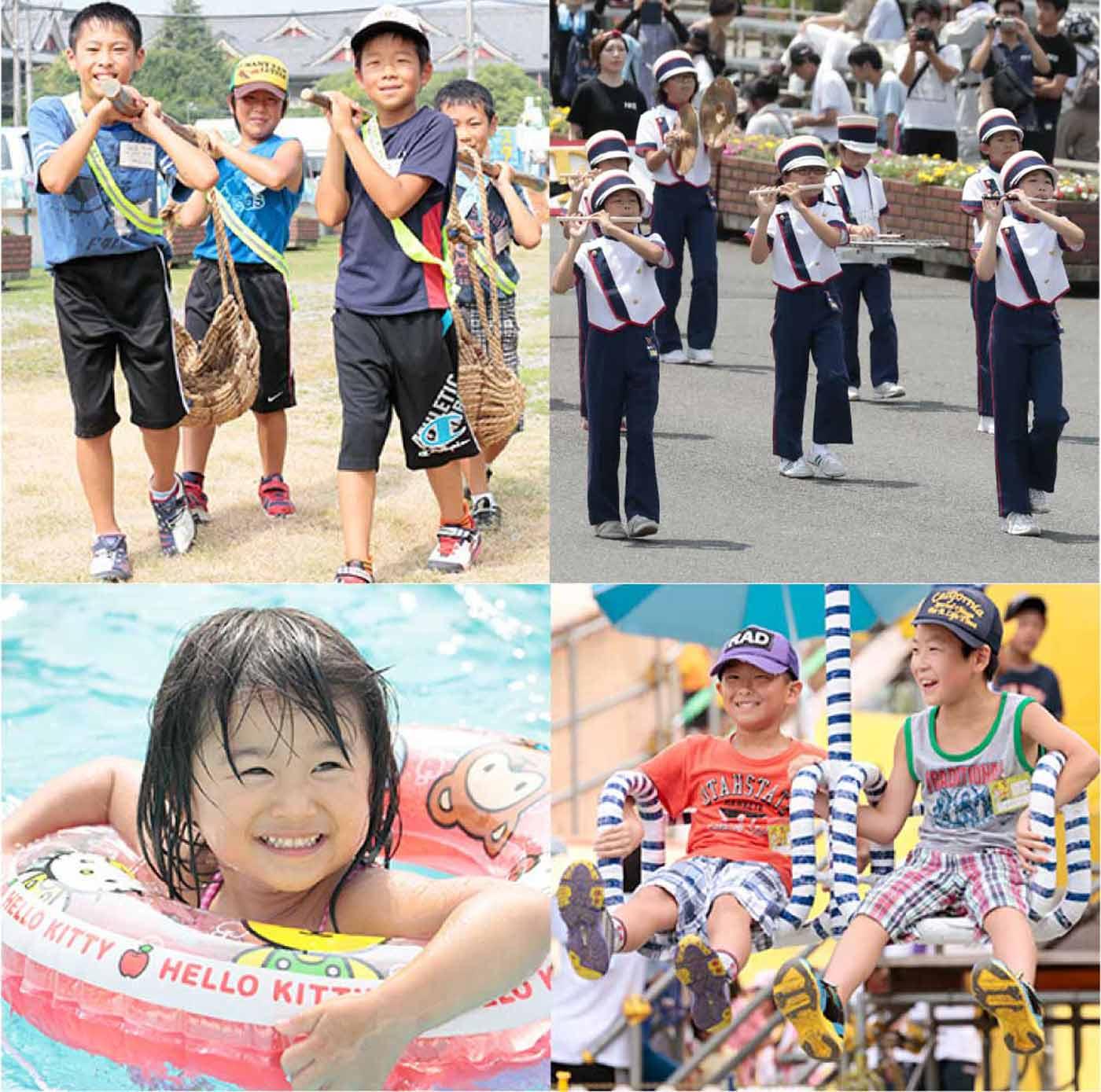 土持ちひのきしんとおやさとパレードの様子とプールで遊ぶ子供の様子とお楽しみ行事の様子