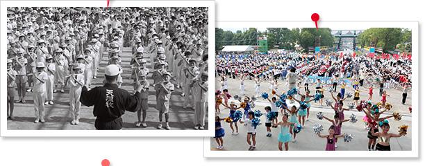 お供え演奏の昔と今の写真