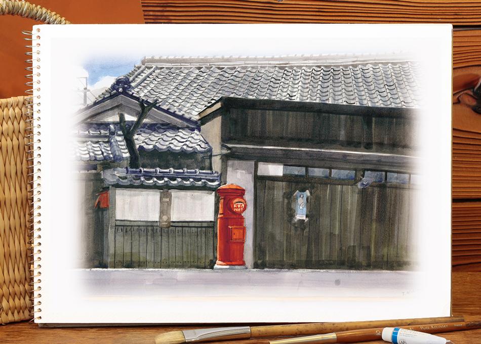 ふるさとスケッチ 「郵便ポスト」 絵 西薗 和泉