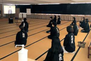 婦人会日本橋支部の総会は各会場に会員が参集した(写真は親里の信者詰所)