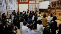 中山婦人会長は、来年の「創立110周年記念総会」に向けて、にをいがけ・おたすけに一層励むよう促された(14日、福井県越前市の此武分教会で)
