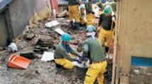 災救隊岡山教区隊は新見市へ出動し、土砂に埋もれて重機の使用が困難な現場など、一般ボランティアが請け負えない作業を担った